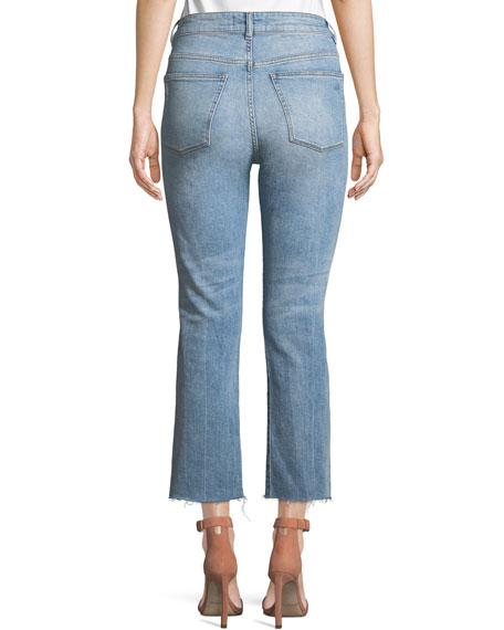 Jerry High-Rise Distressed Straight-Leg Cropped Jeans