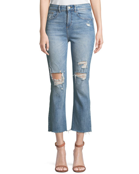 DL1961 Premium Denim Jerry High-Rise Distressed Straight-Leg