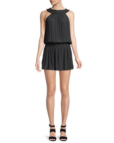 Kendall High-Neck Blouson Mini Dress