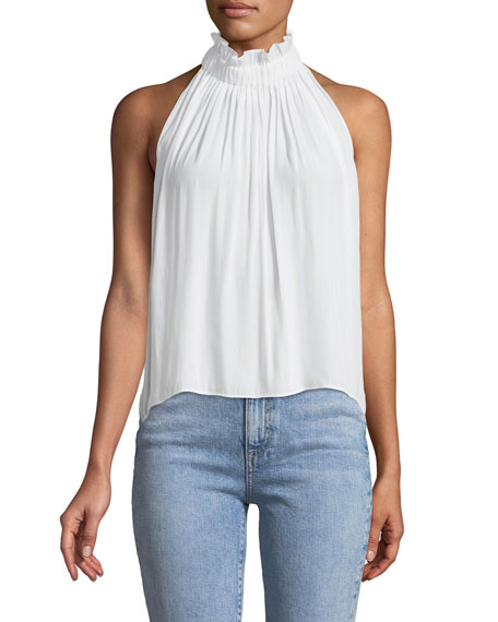 Ramy Brook Selene High-Neck Sleeveless Top