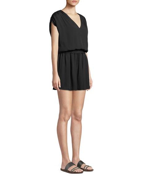 Perrie V-Neck Silk Mini Dress