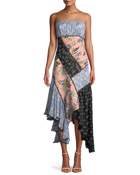 Sabrina Strapless Floral Patchwork Dress