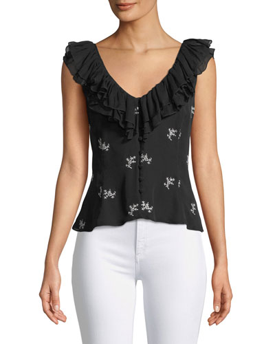 Gia Embroidered Ruffle Top