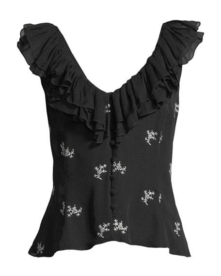 Gia Embroidered Ruffle Top