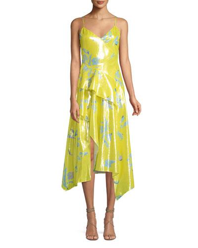 Analia Metallic Floral Midi Dress