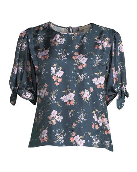 Emilia Crewneck Tie-Sleeve Floral-Print Top