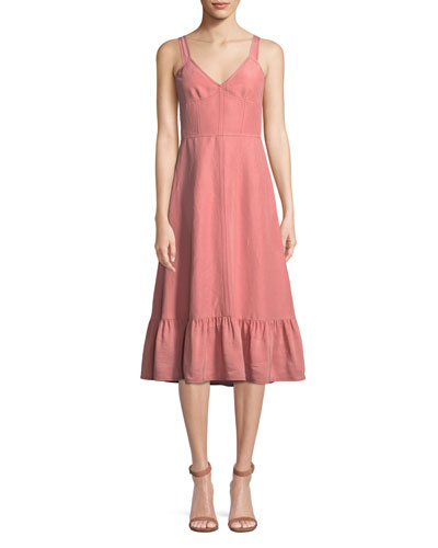 Sleeveless Lace-Up Cotton/Linen Slip Dress