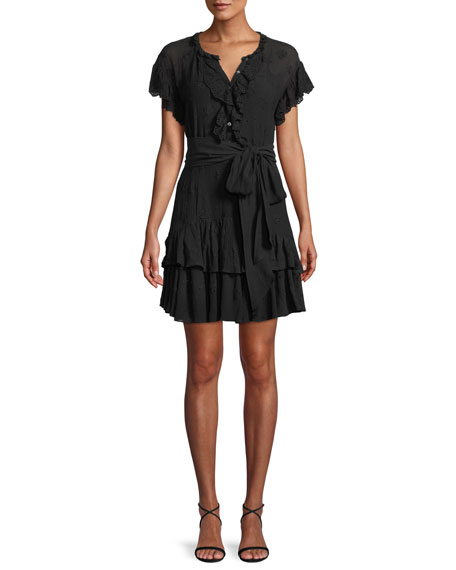 Rebecca Taylor Dree Belted Eyelet Lace Short Dress