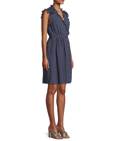 Sleeveless Surplice Ruffle Ikat-Dot Dress