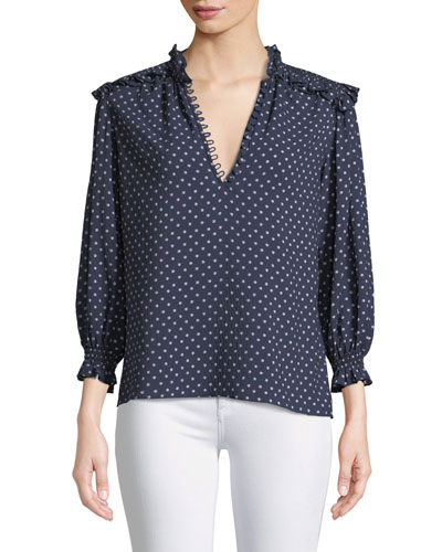 Long-Sleeve Ikat-Dot Blouse