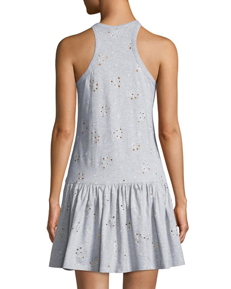 Sleeveless Embroidered Jersey Dress