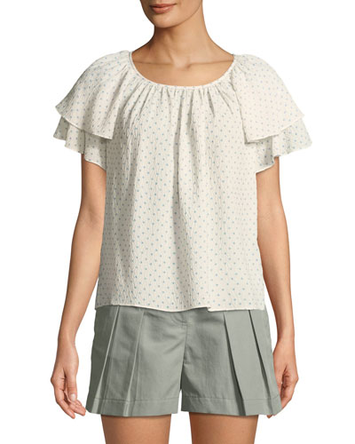Short-Sleeve Ruffle Ikat-Dot Top