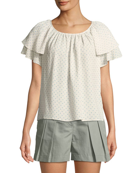 Short-Sleeve Ruffle Ikat-Dot Top
