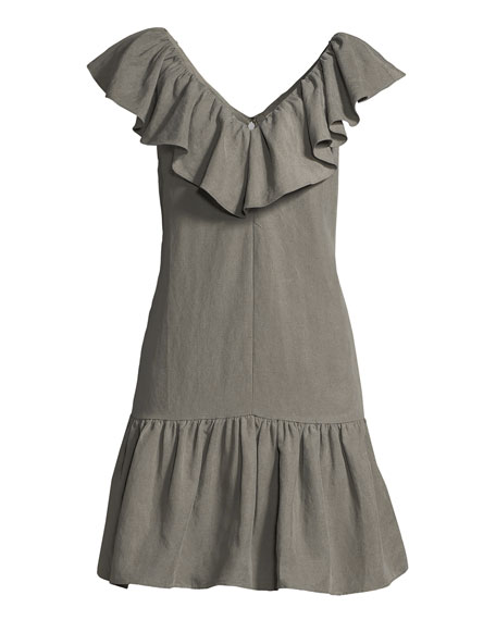 Sleeveless A-Line Ruffle Mini Dress