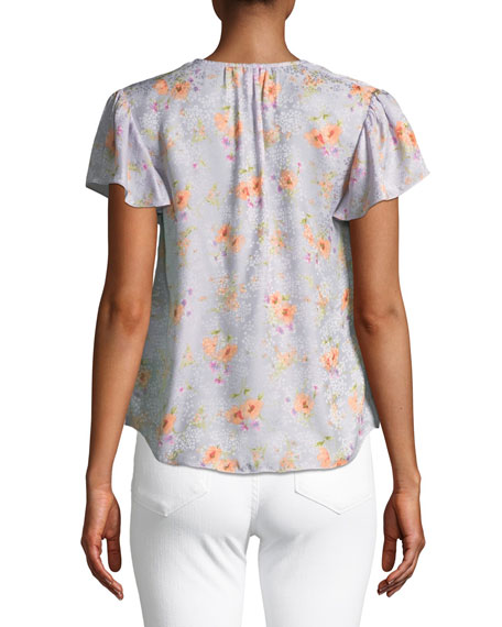 Emilia Floral Silk Hook-Front Top