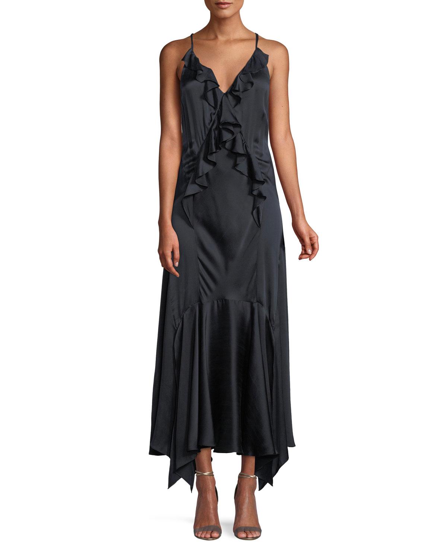 Rebecca Taylor Silk Charmeuse Ruffle Slip Dress | Neiman Marcus