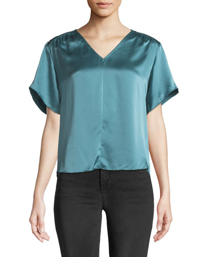 Short-Sleeve Silk V-Neck Top