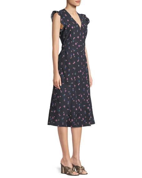 Farren Floral-Print Faux-Wrap Midi Dress