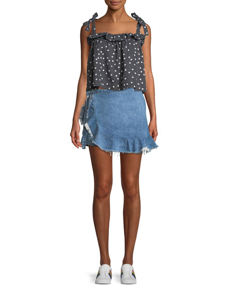 Hadley Frayed Denim Mini Skort