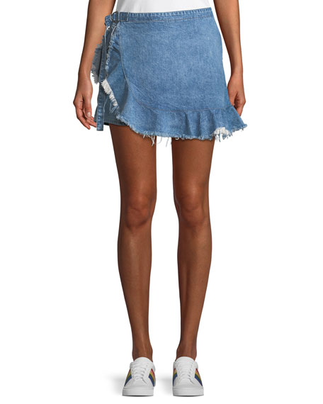 DL1961 Premium Denim Hadley Frayed Denim Mini Skort
