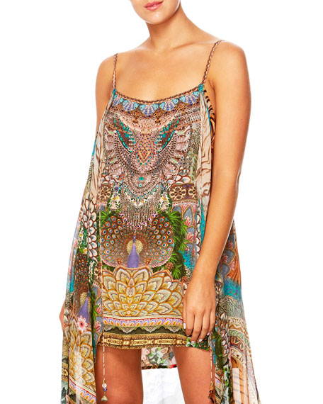 A Woman's Wisdom Printed Dress w/ Long Overlay