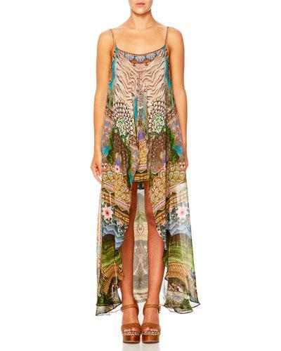 A Woman's Wisdom Printed Dress w/ Long Overlay