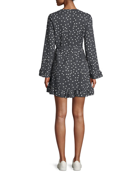 Ainsley Long-Sleeve Polka-Dot Mini Wrap Dress