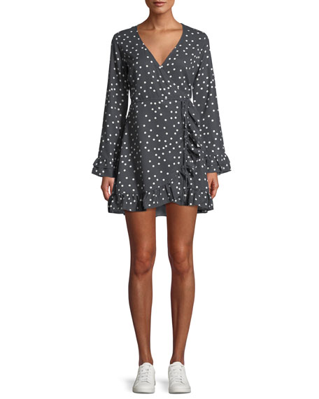 DL1961 Premium Denim Ainsley Long-Sleeve Polka-Dot Mini Wrap