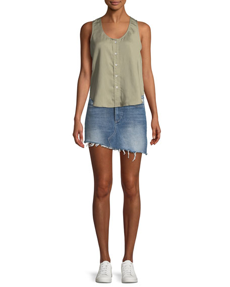 Georgia A-Line Asymmetric-Hem Denim Mini Skirt