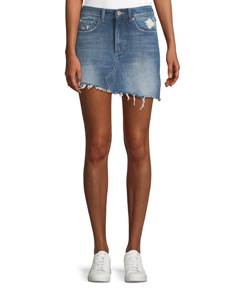 DL1961 Premium Denim Georgia A-Line Asymmetric-Hem Denim Mini