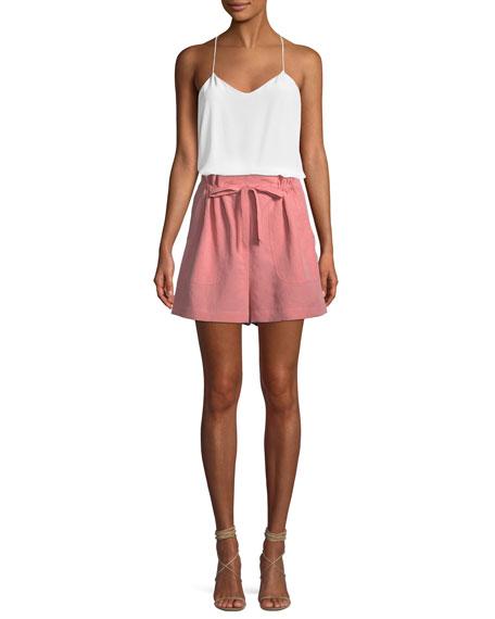 Slub Cotton-Linen High-Waisted Shorts
