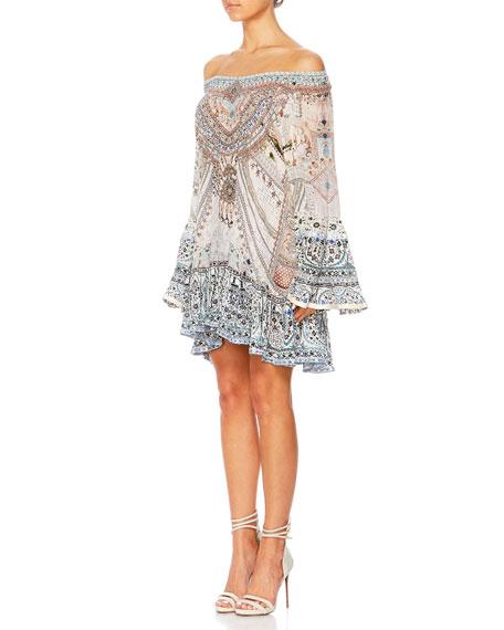 The Long Way Home Off-Shoulder Silk Frill Dress