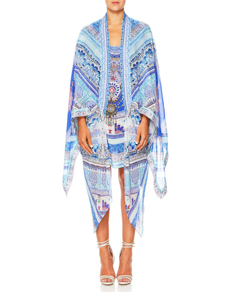 The Long Way Home Open-Front Silk Kimono Robe Coverup, One Size
