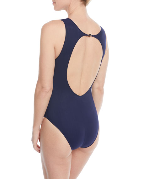 Tricolore Open-Back One-Piece Swimsuit