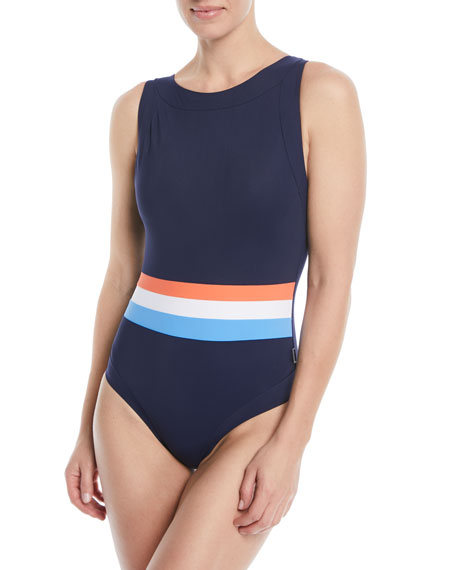 SHAN Tricolore Open-Back One-Piece Swimsuit in Blue