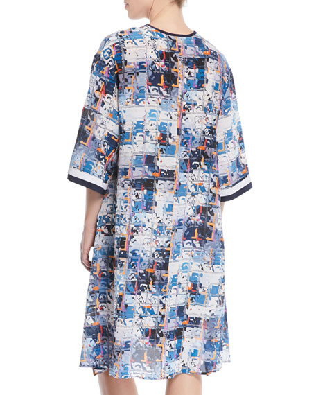 Aqua Blue Silk Kimono Coverup