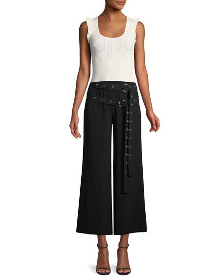 Jessi Buckle Wide-Leg Cropped Pants