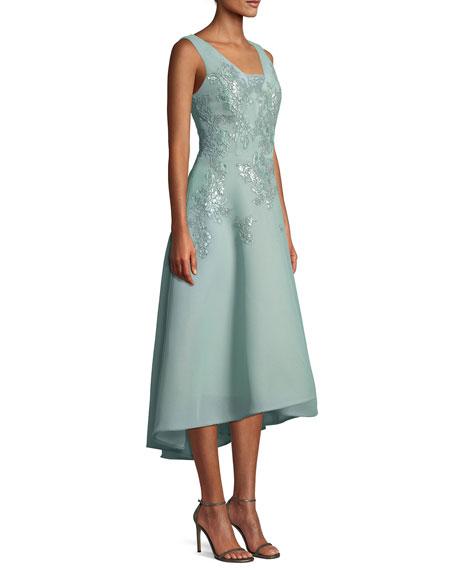Neoprene Cocktail Midi Dress w/ Floral Appliques