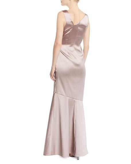 Stretch Mikado Asymmetric Gown