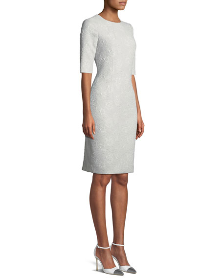 Jacquard Short-Sleeve Sheath Dress