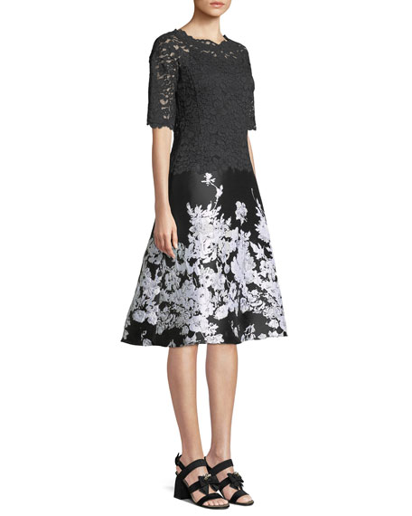 Lace Cocktail Dress w/ Printed Floral Skirt
