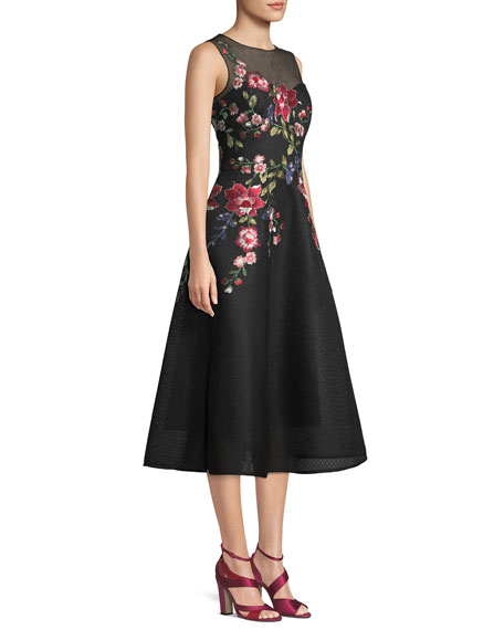 Neoprene Honeycomb Cocktail Dress w/ Floral Appliques