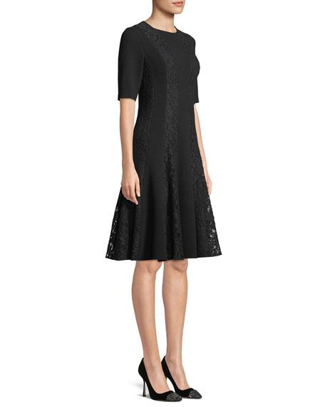 Crepe Dress w/ Lace Stripe Insets
