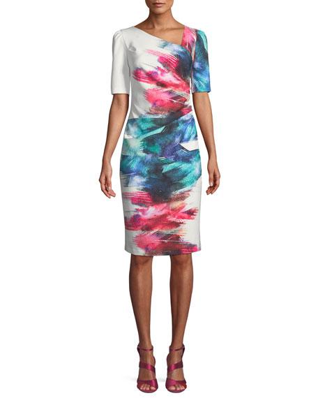 Watercolor Scuba Sheath Cocktail Dress