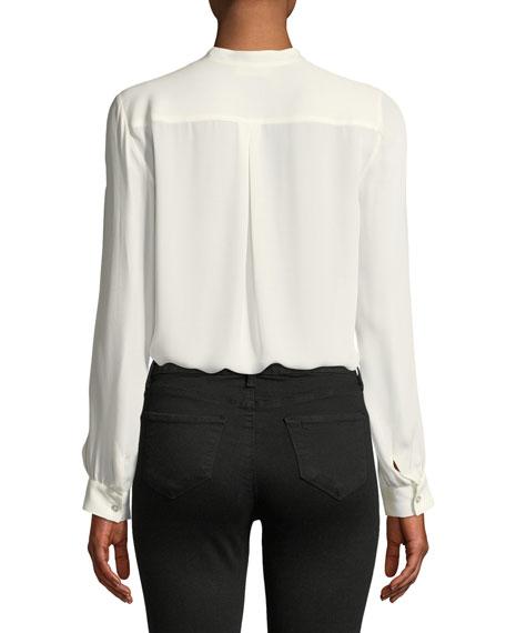 Amalea Pintuck Silk Button-Front Blouse
