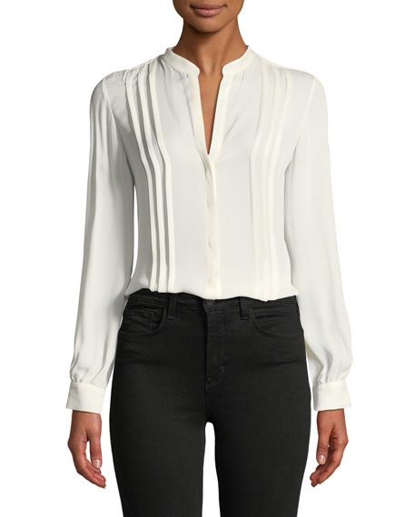 L'Agence Amalea Pintuck Silk Button-Front Blouse and Matching