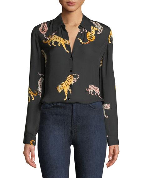 L'Agence Nina Tiger-Print Silk Blouse