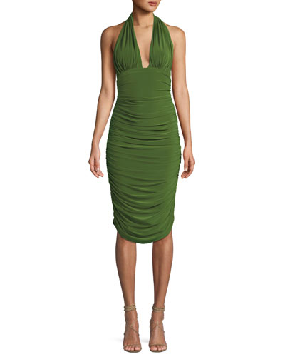 Shirred Stretch Halter Cocktail Dress