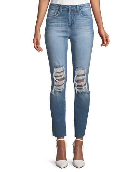 Luna Shred-Knee High-Rise Straight-Leg Jeans