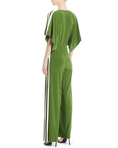Rectangular Jersey Jumpsuit w/ Side Stripes